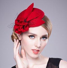 Wholesale elegant headdresses - The bride hats Autumn and winter lady hats knit cape wool Little hat berea cap elegant stewardess cap headdress free shipping HT26
