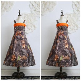 Wholesale Cheap Blue Christmas Tree - Custom Made Spaghetti A-Line Camo Flower Girls Dresses Tea-Length Real Tree Lovely Kids Formal Wear Cheap Pageant Birthday Summer Gowns