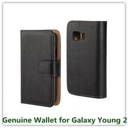 Wholesale Galaxy Young Cases - 1PCS Fashion Black Genuine Leather Stand Pouch Skin Mulit Stand Covers Case for Samsung Galaxy Young 2 G130 Cellphone Bags Free