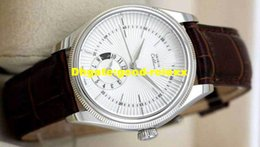 Wholesale Moon Dial - New Men's Automatic Watch Men Classic White Dial Cellini Mens Moon phase Display Brown Leather Strap Watches Business 50529 Wristwatches