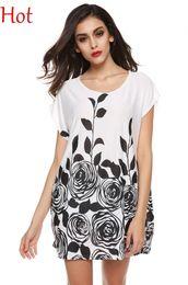 Wholesale Short Sleeve White Women Shirts - New Fashion Women Dresses T-shirts White Purple Blue Red Ice Silk Dress Summer Loose Flower Print Mini Dress Short Sleeve Long Tees SV000488