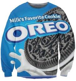2014 nouveau mode hommes femmes 3D sweat imprimer Oreo Cookies alimentaire drôle pull hoodies à manches longues crewneck tops ? partir de fabricateur