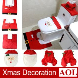 Wholesale Red Tissue Cover - Christmas Santa Bathroom Toilet Seat Cover + Tissue Box + Rug Bathroom Set Holiday New Year Party Supplies Baubles Decoration