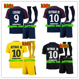Wholesale Football Shirt Kids Kit - AAA+ 2017 kids kits+sock NEYMAR JR soccer jersey 17 18 MBAPPE CAVANI MARQUINHOS LUCAS DI MARIA MATUIDI DANI ALVES Children football shirts