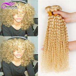 Wholesale Curly European Color 613 - 7A unprocessed russian blonde 613# hair afro kinky curl human hair extension honey blonde curly virgin hair bundles 4pcs lot ali queen hair