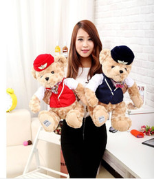 Wholesale Toy Teddy Bear China - Super Cute 35cm Airline Stewardess China Teddy Bear Toys Plush Doll Perfect Stuffed Toys Bear Kids Gifts