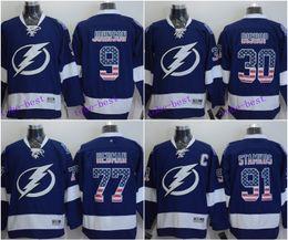 ca32d2d7162 ... Tampa Bay Lightning Jersey 91 Steven Stamkos 77 Victor Hedman 30 Ben  Bishop 9 Tyler Johnson Tampa Bay Lightning Victor Hedman Reebok NHL Mens ...