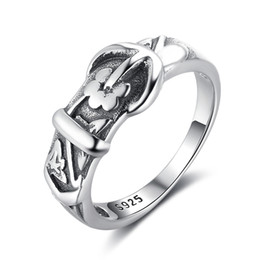 Wholesale Belt Ring Jewelry - Brand New Vintage Anchor Design Belt Shape Rings 925 Sterling Silver Jewelry Fashion Rings For Women