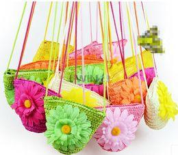 Wholesale Straw Sunflower Bag - Hot Selling! Cute Straw Coin Bag Beach Handbag Floppy Sunflower Bag For Kids Children Assorted Color