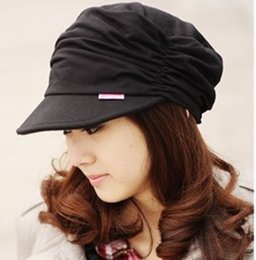 Wholesale Fold Beret - Wholesale-Women trendy Fashion all-match folding Beret leisure Flat military hat Outdoor Sports peaked cap sunbonnet ANDY003