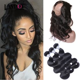 Wholesale Remy Hair Closure Piece - 360 Lace Frontal Closures with 3 Bundles Brazilian Body Wave Virgin Hair 8A Unprocessed Peruvian Indian Malaysian Remy Human Hair Extensions