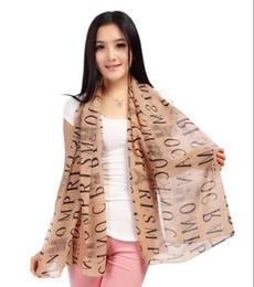 Wholesale Silk Chiffon Scarves For Autumn - Fashion Chiffon Scarf for Women Retro Letter Design Scarves Oversized Infinity Autumn Winter Pashminas Scarf Christmas Gift I319