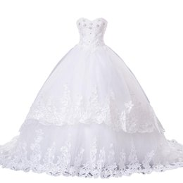 Wholesale Babyonline Gowns - real photo ball gown wedding dress crystal beads applique lace sweetheart court train floor length Babyonline wedding gown dresses fast ship