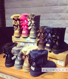 Wholesale Womens Brown Knee Boots - 2017 Christmas Promotion Womens Australia Snow boots Bowtie Boots NEW Snow Boots for Women Free Shipping
