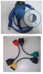 Wholesale Obd2 Alfa Romeo - Wholesale-MultiECUScan Cable Adapters VAG KKL USB OBD2 409 FiatECUScan SWITCH 4pcs Set For Alfa Lancia Romeo