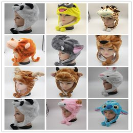 Wholesale Animal Ears Scarf - 100pcs lot Unisex Cartoon Animal Hat Long Fluffy Plush Cap Scarf Earmuff Headgear Dance Party Hats Caps