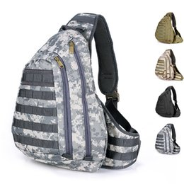 Wholesale Large Molle Pack - Wholesale-Molle Camouflage big large chest pack outdoor tactical padded ride sports A4 school camping messenger shoulder bag free shipping