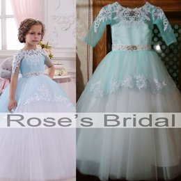 Wholesale Real Actual Rhinestone Crystal Dress - Real Picture Little Flower Girls Dresses Crew Neckline 2016 Lace Appliques Beading Crystal Ball Gown Little Girls Wedding Dresses Actual