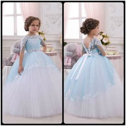 Wholesale White Red Wedding Frocks - 2016 Light Blue Princess Sheer Lace Flower Girl Dresses Pageant Baby Party Frocks for Girl Birthday Wedding Party Ball Gown