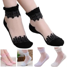 Wholesale Girls Transparent Socks - 12Pairs lot Hot sales New Colorful Ultrathin Transparent Silk Flower Crystal Lace Elastic Short Socks Women Girls Wholesale Free