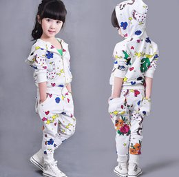 Wholesale Cute Kid Girl Clothes - Baby girls graffiti clothes set babies girl sport clothes outfits boutique fall clothing kids cute suits white color