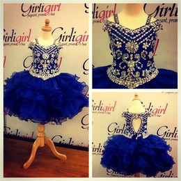 Wholesale Sleeveless Mini Ball Gown - Lovely Royal Blue Crystals Girls Pageant Dresses 2016 Little Girls Ball Gowns Mini Ruffles Organza Cheap Princess Cupcake Ritzee Girl Dress