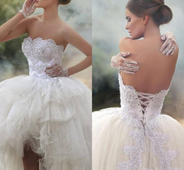 Wholesale Strapless Dress Puffy Skirt - New Designer Strapless Hi Lo Ball Gown Wedding Dress 2016 Applique Beaded Tiered Puffy Skirt Arabic Plus Size Short Wedding Gowns Lace up
