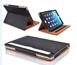 Wholesale auto flip - Tan Leather Wallet Stand Flip Case Bag Smart Cover for iPad 2017 2018 2 3 4 5 Mini23 Mini4 Retina With Auto Sleep Wake UP Funtion