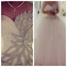 Wholesale New Hot Elegant Bridal Gown - New Arrival Elegant Tulle Princess Wedding Dresses 2015 Crystal Custom Made Long Floor Beaded Gorgeous Bridal Ball Gowns Fashion Hot style