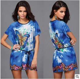 Wholesale Silk Mini Tunic Dress - Summer Style Bohemian Dress Short Butterfly Print Women Tunic Boho Mini Beach Sundress Ice Silk Vintage Ladies Casual Dresses With Sleeves