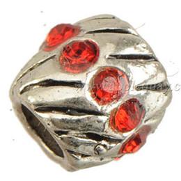 Corrediça da liga on-line-Vermelho strass talão encantos europeus pulseiras de slides rodada surround de cristal do vintage liga de prata tom fornecedores de jóias descobertas 7x7mm 200 pcs