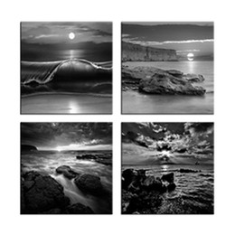 Wholesale Contemporary Paintings Canvas - Modern Canvas Wall Art Painting 4 Pieces Gray Sea Scenery Seascape Prints Art Contemporary Artworks Home Decorations Framed