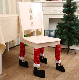 Wholesale High Furniture - Santa Table Feet Cover Set High Quality Christmas Chair Feet Sets Christmas Decorations Xmas Furniture Decoration CCA7919 60pcs