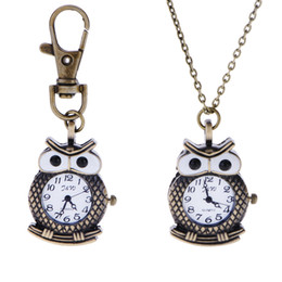 Wholesale Brass Watch Key - Classical owl watches one set =necklace + key chain Fashion Men and women watch necklace pendant watches Pocket Watch Key Chain Watches