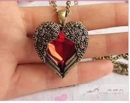 Wholesale wing heart necklace red - Min order is $10(mix order)Love vintage red hearts design long necklace Angel Wings pendant necklaces for women