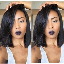 Wholesale Hand Cut Swiss Lace - Hot Selling Brazilian 7A Bob Cut Wigs Human Hair Bob Full Lace Wig For Black Women Full Culticle Short Bob Full Lace Wig