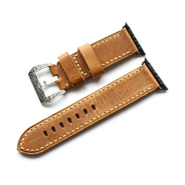 Wholesale Leather Watch Strap Italy - Upscale Italy Leather Band for Apple Watch Series 1 2 3 38mm 42mm Watchband for Iwatch Band Carved Pattern Needle Buckle Strap