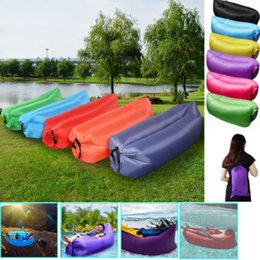 Wholesale Blue Couches - Air Sofa Bed Inflatable Lazy Sleeping Camping Bag Beach Hangout Couch Waterproof Windbed Chair Air Sofa Christmas Present Free Shipping