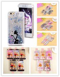 Wholesale Bling Bears - For Iphone 4 5 6 Plus 4.7 5.5 pc case Star Liquid Moving Bling Quicksand Transparent Back Cover Bear Girl Dandelion