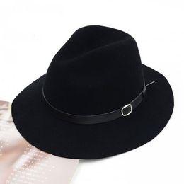 Wholesale Men Stylish Wool Hats - Wholesale-Wholesale Caps Fine Mix Colors Wool Trilby Fedora Hats Black Women Winter Wide Brim Belt Fedoras Stylish Autumn Felt Hat Fedora