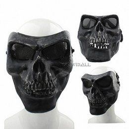 Wholesale Tactical Mask Military - Skull Masks Terrifying Evil Facepiece Skeleton Anti BB Bomb Military Tactical Face Mask with Elastic Bands High Intensity for Outdoor 1pcs