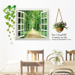 Wholesale tree life wall decal - 3D Window View Forest Landscape in Four Seasons 3D Wall Sticker Green Golden Tree Removable Wallpaper Home Decal Home Decor Wholesale
