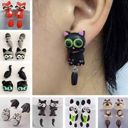 Wholesale Polymer Clay Ear Studs - New Design Handmade Polymer Clay Yellow Eyes Cat Animal Stud Earrings For Women Fox Lovely Panda Ear Stud Jewelry Wholesale