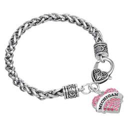 Wholesale Unique Jewelry Sets - Unique Simple Fashion Design Rhodium Plated Single-Sided Heart Initial MICHIGAN Rhinestone Pendant Thick Chain Jewelry Woman Bracelets