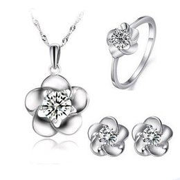 Wholesale Good Party Flowers - Lovely Flower Jewelry Set,Excellent Quality 925 Sterling Necklace Earring Set,Good Designs with AAA Qualtiy Austria Crystal OS41
