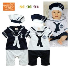 Wholesale Retail Jumpsuits - Retail Summer Newborn Navy Style Baby Boys Girls Rompers + Hat 2Pcs Set Kid's Short-Sleeve Sailor Bodysuits Children Jumpsuit Clothing Suit