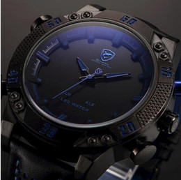 Wholesale Shark Military Sports Watch - Shark Brand Sports Watches Black Blue Dual Time Auto Date Alarm Leather Band LED Male Clock Analog Military Quartz Men Digital Watch   SH26
