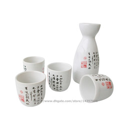 Wholesale orchid set - Ceramic Japanese Sake Set Elegant Sake Bottle and Cups Wine Gift Handpainted Chinese Calligraphy Orchid Pavilion Design White Red