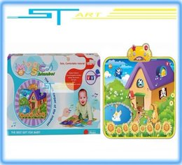 Wholesale Crawling Blanket Music - Wholesale-Newest free shipping 702 QIAOYUAN music blanket farm touch blanket Crawling mat game blanket Children's educational toys 2015