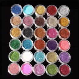 Wholesale wholesale mineral eyeshadow - New 30pcs Mixed Colors Powder Pigment Glitter Mineral Spangle Eyeshadow Makeup Cosmetic Set Long-lasting Random Color